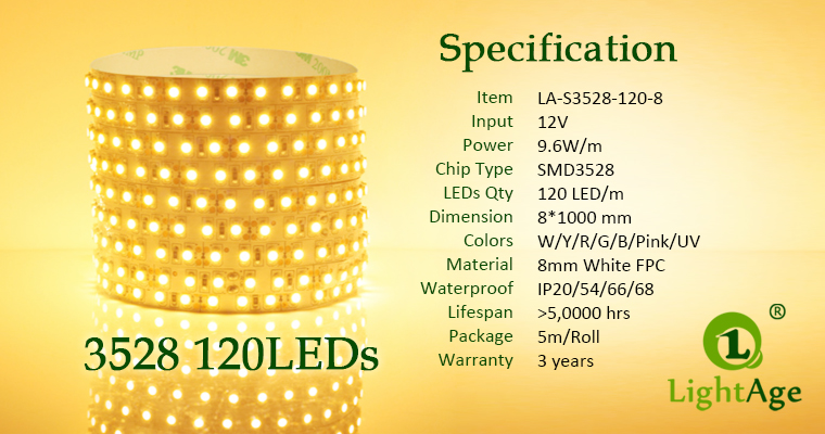 02-LightAge LED Strip 3528-120-8mm Specification