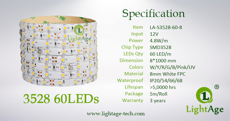 02-LightAge LED Strip 3528-60-8mm Specification
