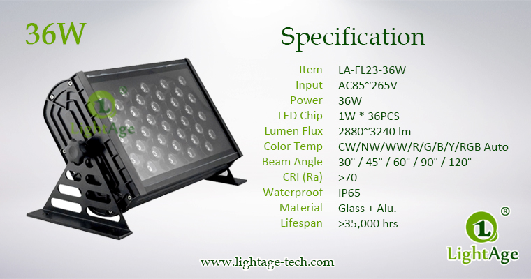 LA-FL23-36W LED Flood Light Specification