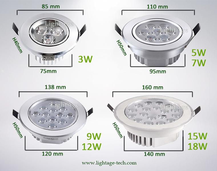 LED Ceiling Light Down Light LA-CL82 Series Dimension