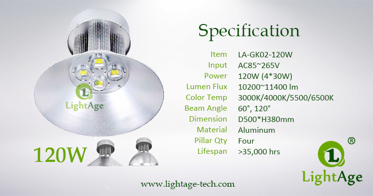 LED High Bay Light LightAge GK02 120W Specification