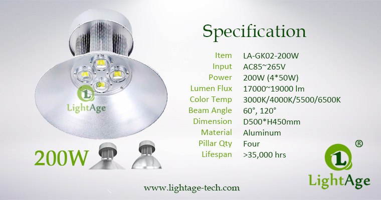 LED High Bay Light LightAge GK02 200W Specification