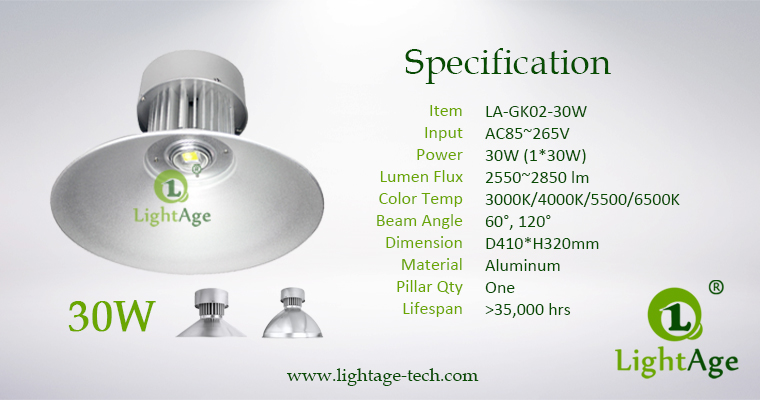 LED High Bay Light LightAge GK02 30W Specification