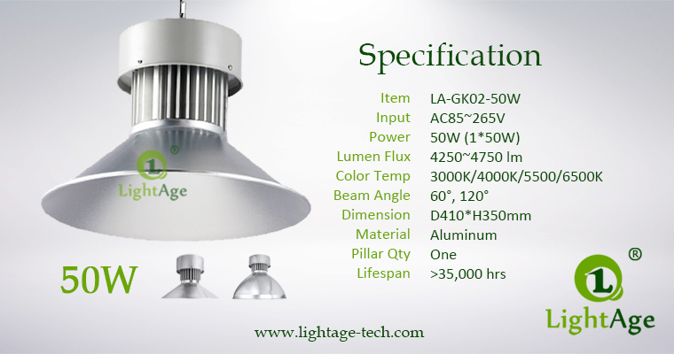 LED High Bay Light LightAge GK02 50W Specification