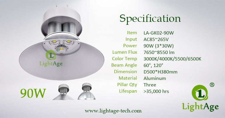 LED High Bay Light Specification LightAge GK02 90W