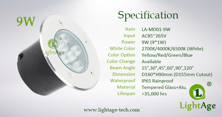 LED Inground Light LA-MD01-9W Specification