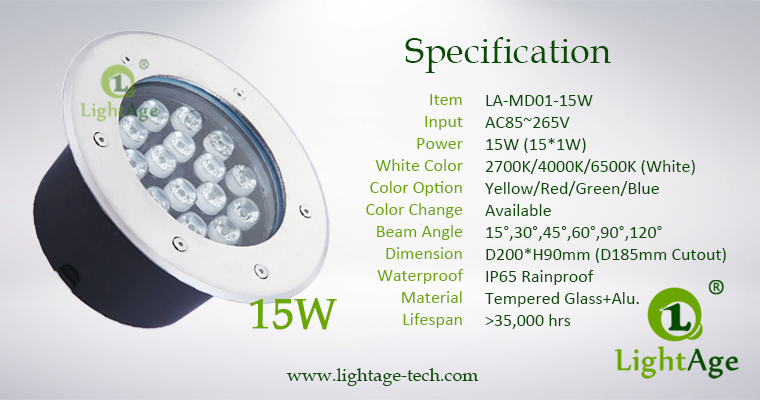 LED Inground Light Specification LA-MD01-15W