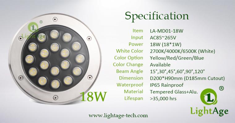 LED Inground Light Specification LA-MD01-18W