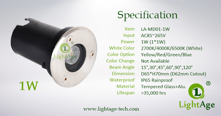 LED Inground Light Specification LA-MD01-1W