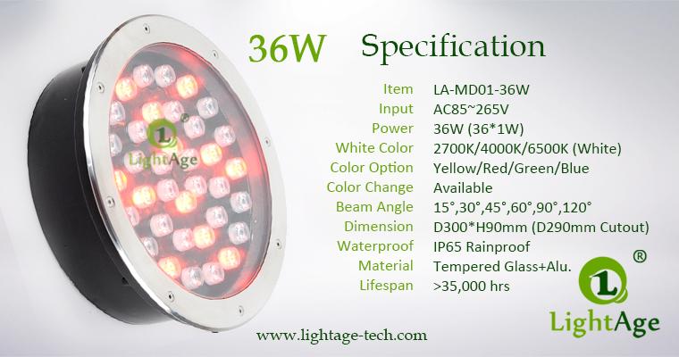 LED Inground Light Specification LA-MD01-36W
