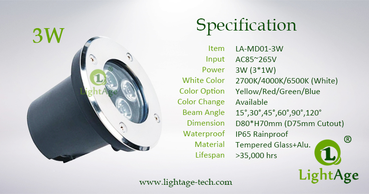 LED Inground Light Specification LA-MD01-3W