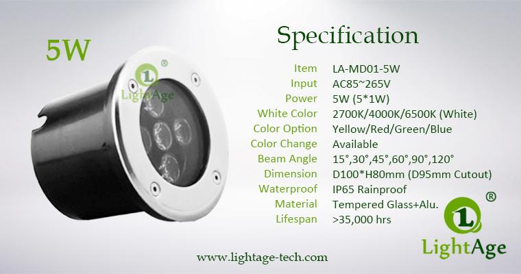 LED Inground Light Specification LA-MD01-5W