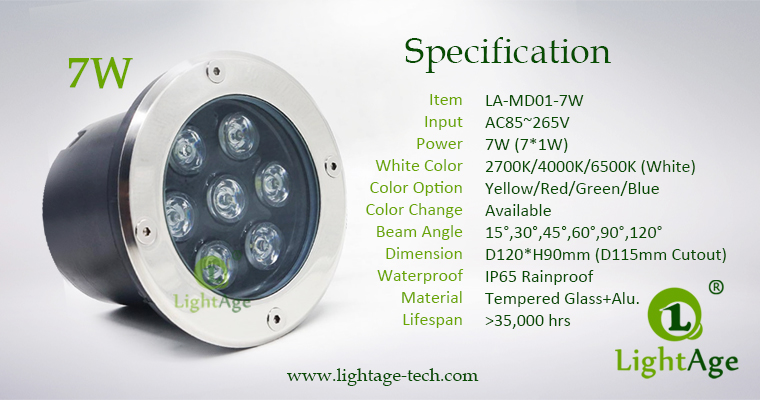 LED Inground Light Specification LA-MD01-7W