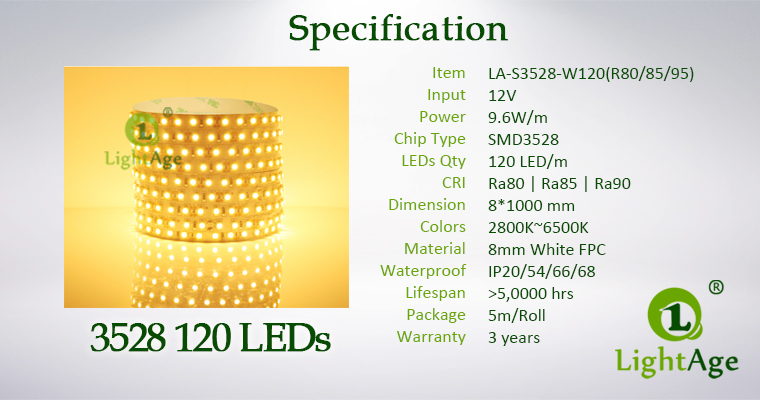 LightAge LED Strip 3528 CRI90 120leds Specification