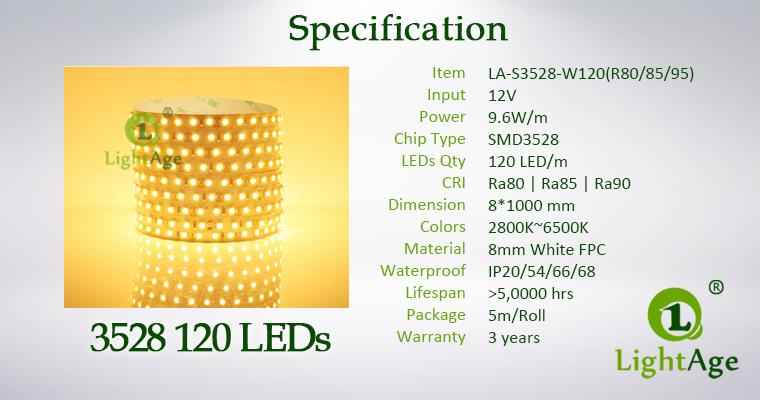 LightAge LED Strip 3528 CRI90 120leds Specification