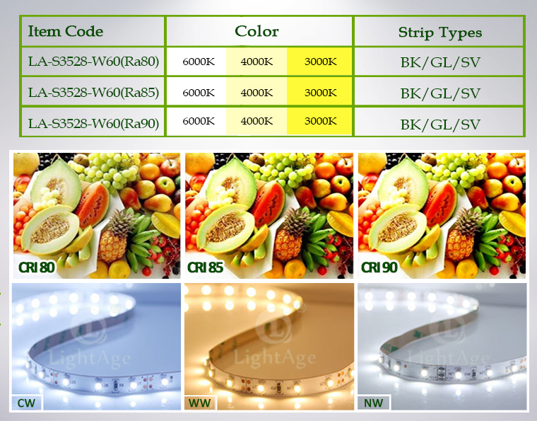 LightAge LED Strip 3528 CRI90 60leds Items
