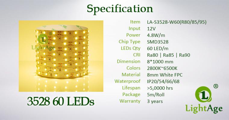 LightAge LED Strip 3528 CRI90 60leds Specification