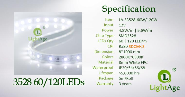 LightAge LED Strip 3528 SDCM-3 Specification