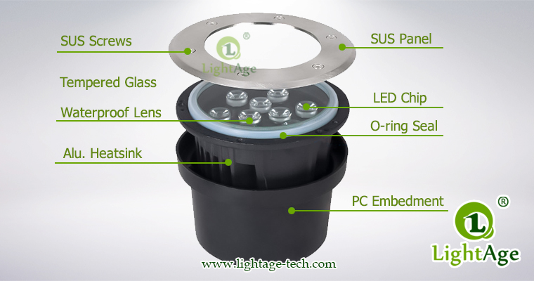led underground light structure lightage LA-MD01