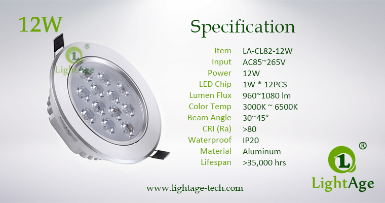 LA-CL82-12W LED Down Light Silver Blade Specification