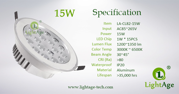 LA-CL82-15W LED Down Light Silver Blade Specification
