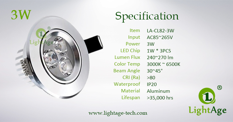 LA-CL82-3W LED Down Light Silver Blade Specification
