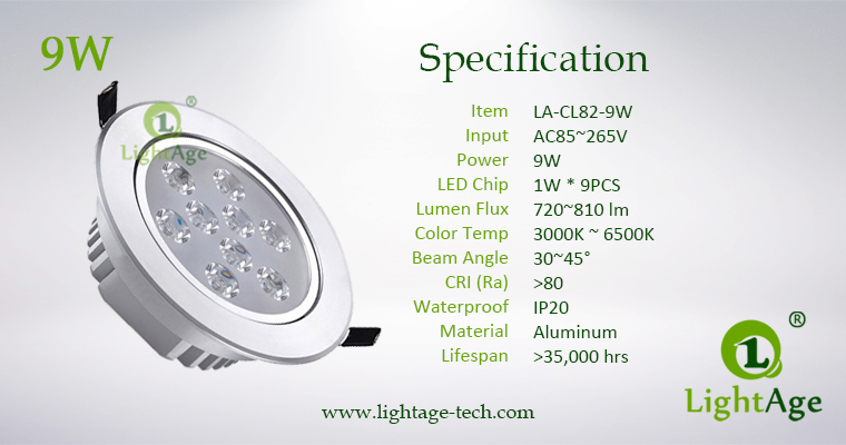 LA-CL82-9W LED Down Light Silver Blade Specification