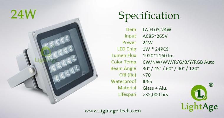 LA-FL03-24W LED Flood Light Specification