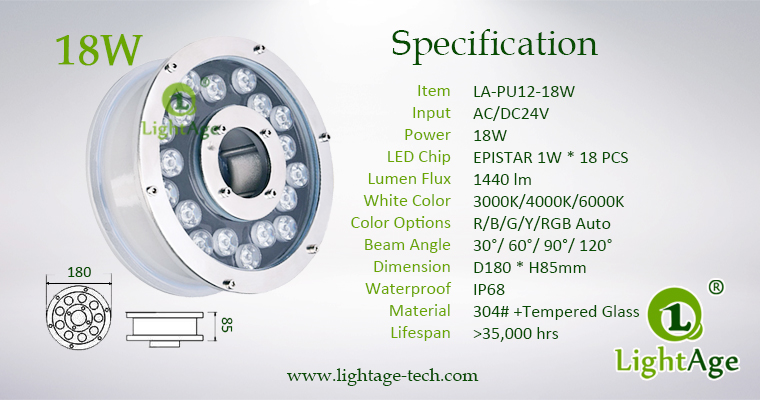 18W LED Fountain Light LightAge LA-PU12-18W 04 Specification
