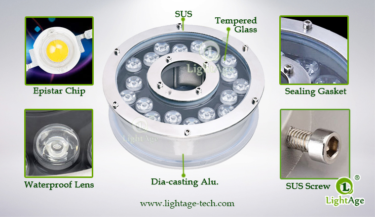 18W LED Fountain Light LightAge LA-PU12-18W 05