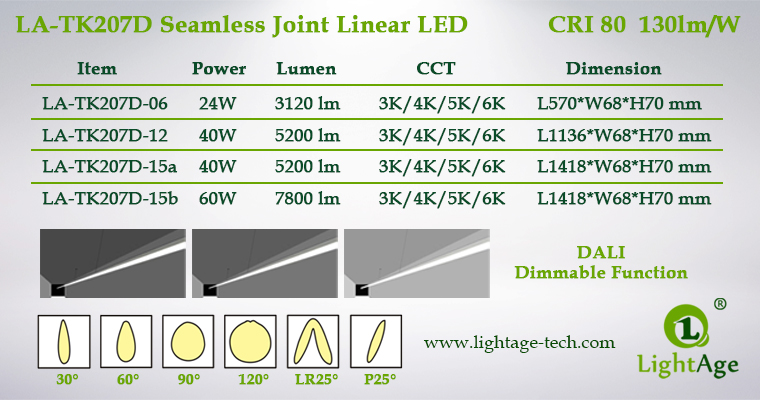 2ft 4ft 5ft 130lmW Dali Dimmable LED Linear Light LightAge Series
