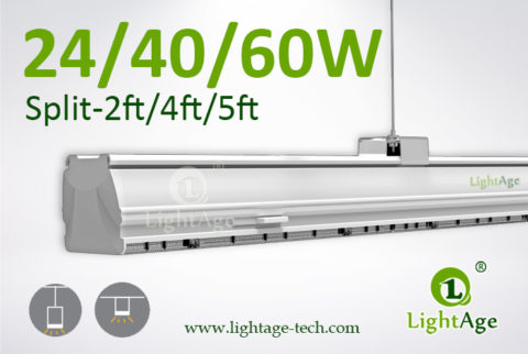 2ft 4ft 5ft LED Linear Light 24W 40W 60W 130lmW Ra80 LightAge 01