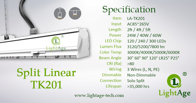 2ft 4ft 5ft LED Linear Light 24W 40W 60W 130lmW Ra80 LightAge specification