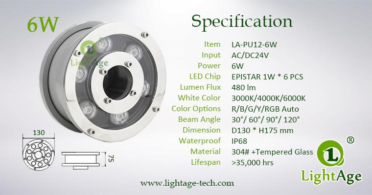 6W LED Fountain Light LightAge LA-PU12-6W 04