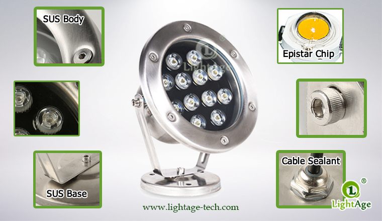 LightAge LA-PU02-12W LED Pool Light 12W Details