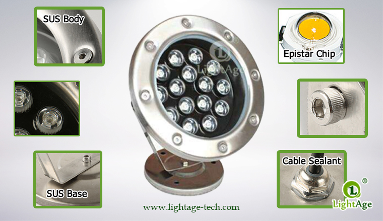 LightAge LA-PU02-15W LED Pool Light 15W Details