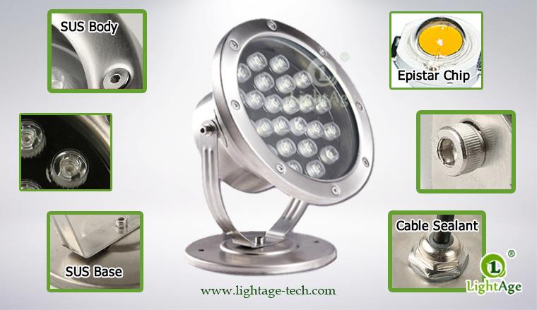 LightAge LA-PU02-24W LED Pool Light 24W Details