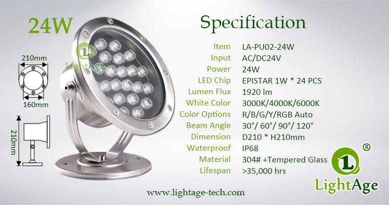 LightAge LA-PU02-24W LED Pool Light 24W Specification