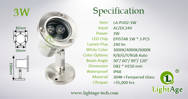 LightAge LA-PU02-3W LED Pool Light 3W Specification