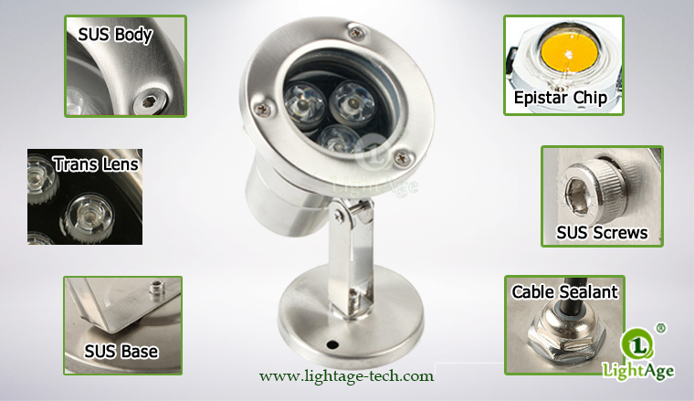LightAge LA-PU02-3W LED Pool Light 3W Structure