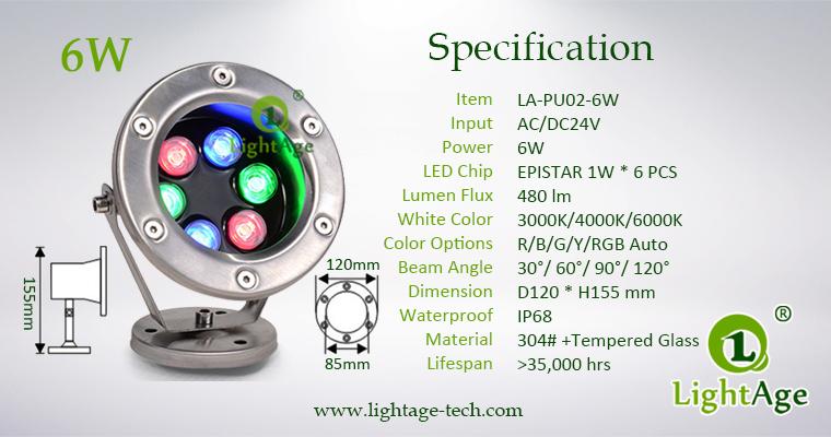 LightAge LA-PU02-6W LED Pool Light 6W Specification
