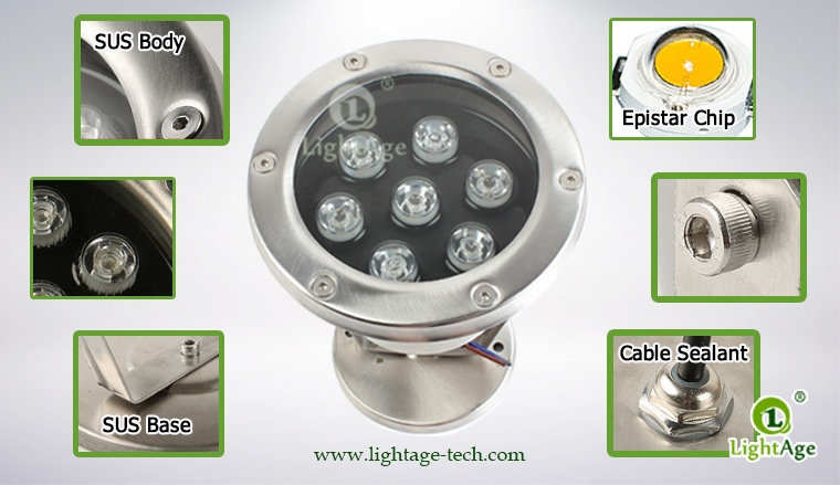 LightAge LA-PU02-7W LED Pool Light 7W Details