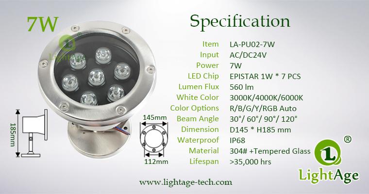 LightAge LA-PU02-7W LED Pool Light 7W Specification