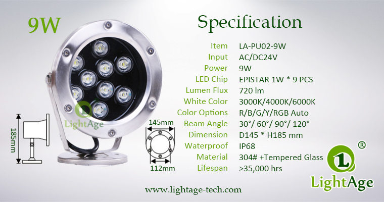 LightAge LA-PU02-9W LED Pool Light 9W Specification