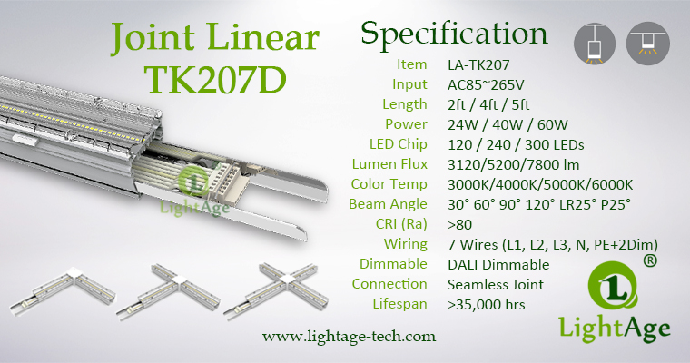 LightAge Pendant LED Linear Light Surface Mounted LED Linear Light Specification