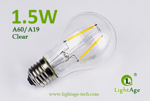 1.5W A60-A19 led filament bulb Clear