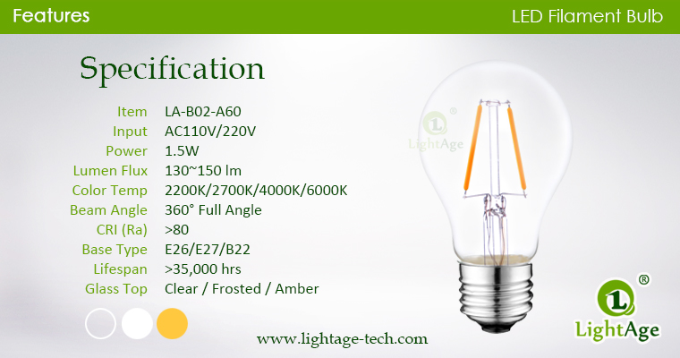 A60-A19 led filament bulb Clear 2W-2