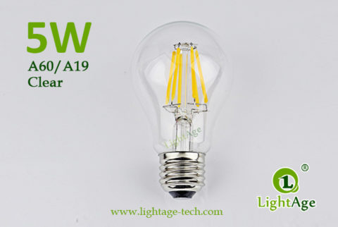5W A60-A19 led filament bulb Clear