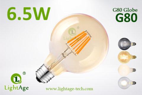 6.5W G80 filament LED amber globe bulb