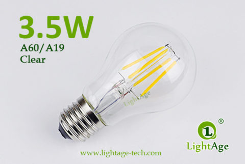 A60-A19 led filament bulb Clear 3.5W